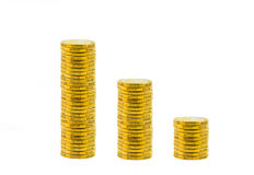 Gouden muntstukken die op wit worden geïsoleerdz Royalty-vrije Stock Afbeeldingen