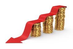 Gouden muntstukken en rode pijl neer Royalty-vrije Stock Afbeeldingen