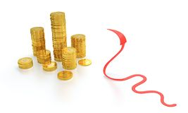 Gouden muntstukken en rode pijlslang Stock Foto's