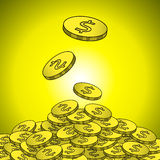 Gouden muntstukken met de illustratie van het dollarteken Stock Foto's