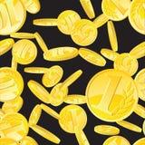Gouden muntstukken naadloos patroon Royalty-vrije Stock Afbeeldingen