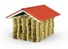 Gouden muntstukken onder dak stock illustratie