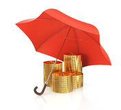 Gouden muntstukken onder paraplu Stock Foto