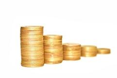 Gouden Muntstukken op witte achtergrond Macro Stock Afbeelding