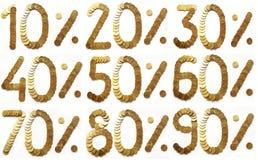 Gouden muntstukken - percentage Stock Fotografie