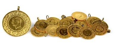 Gouden muntstukken. (Turkse gouden muntstukken). Royalty-vrije Stock Afbeeldingen