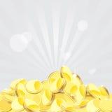 Gouden Muntstukkenachtergrond, Vectorillustratie Royalty-vrije Stock Foto's