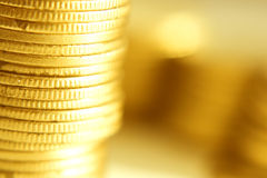 Gouden muntstukkenclose-up Royalty-vrije Stock Fotografie