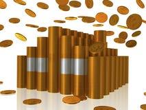 Gouden muntstukkenhuis Stock Illustratie