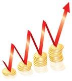 Gouden muntstukkenillustratie, succesconcept Stock Foto's