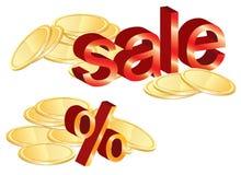 Gouden muntstukkenillustratie, verkoop en percenten Stock Afbeelding