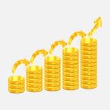 Gouden muntstukkenillustratie voor ontwerp Stock Fotografie