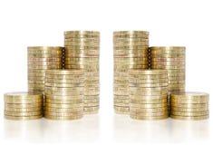 Gouden muntstukkenstapel  Stock Afbeelding