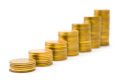Gouden muntstukkentrap Royalty-vrije Stock Foto's