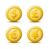 Gouden Muntstukpictogrammen stock illustratie