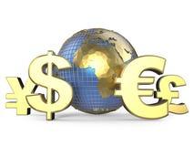 Gouden muntsymbolen rond de bol 3d geef terug Royalty-vrije Stock Afbeeldingen
