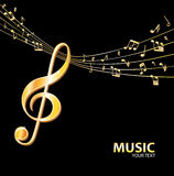 Gouden muziekachtergrond Stock Afbeelding