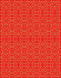 Gouden naadloze Chinese van de de meetkundelijn van venstertracery vierkante het patroonachtergrond Royalty-vrije Stock Afbeelding