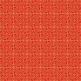 Gouden naadloze Chinese van de de veelhoekbloem van venstertracery het patroonachtergrond Stock Afbeelding