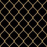 Gouden naadloze het patroonachtergrond van het draadnet op zwarte Royalty-vrije Stock Afbeeldingen
