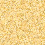 Gouden naadloze het patroonachtergrond van kantrozen Royalty-vrije Stock Foto