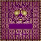 Gouden naadloze olifants violette achtergrond Stock Foto
