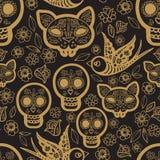 Gouden naadloze patroondag van de Doden Royalty-vrije Stock Afbeelding