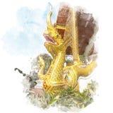 Gouden nagastandbeeld Stock Fotografie