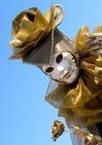 Gouden nam en een wit masker toe Royalty-vrije Stock Foto's