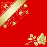 Gouden nam op rode achtergrond 3 toe Stock Foto