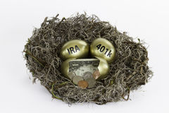Gouden Nesteieren met één gebroken ei - IRA en 401k stock foto