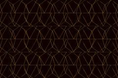 Gouden netwerk op zwart naadloos patroon als achtergrond Stock Afbeelding