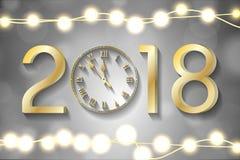 Gouden Nieuwjaar 2018 concept met realistische Kerstmislichten op fonkelingenachtergrond Royalty-vrije Stock Fotografie