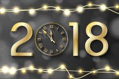 Gouden Nieuwjaar 2018 concept met realistische Kerstmislichten op zwarte achtergrond Stock Fotografie