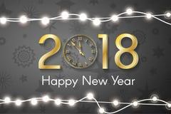 Gouden Nieuwjaar 2018 concept met realistische Kerstmislichten op zwarte achtergrond Royalty-vrije Stock Fotografie