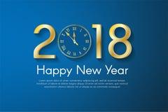 Gouden Nieuwjaar 2018 concept op blauwe achtergrond de vectorillustratie van de groetkaart Royalty-vrije Stock Afbeeldingen