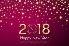 Gouden Nieuwjaar 2018 concept op purpere onscherpe starfallachtergrond Royalty-vrije Stock Foto