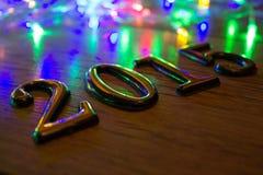 Gouden 2015 Nieuwjaar op hout Stock Afbeelding