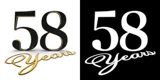 Gouden nummer achtenvijftig nummer 58 en de inschrijvingsjaren met daling stellen en alpha- kanaal in de schaduw 3D Illustratie stock illustratie