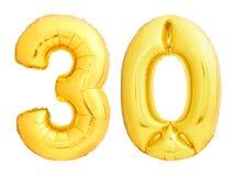 Gouden nummer 30 dertig gemaakt van opblaasbare ballon Royalty-vrije Stock Foto