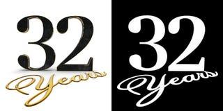 Gouden nummer tweeëndertig nummer 32 en de inschrijvingsjaren met daling stellen en alpha- kanaal in de schaduw 3D Illustratie vector illustratie