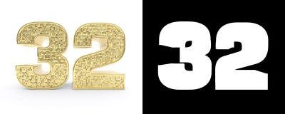 Gouden nummer tweeëndertig nummer 32 op witte achtergrond met daling stelt en alpha- kanaal in de schaduw 3D Illustratie Stock Afbeelding