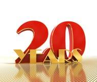Gouden nummer twintig nummer 20 en het woord Royalty-vrije Stock Fotografie