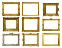 Gouden omlijstingen. Geïsoleerd over wit Royalty-vrije Stock Afbeelding