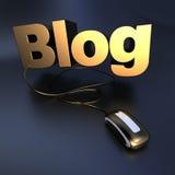 Gouden online Blog Royalty-vrije Stock Afbeeldingen