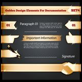 Gouden Ontwerpelementen voor Documentatie Set4 Royalty-vrije Stock Afbeelding