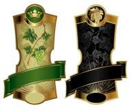 Gouden-ontworpen wijnetiketten Stock Afbeeldingen
