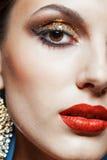 Gouden oogmake-up Stock Fotografie