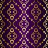 Gouden-op-purper naadloos swirly Indisch patroon Stock Foto