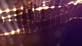 Gouden oppervlakte van deeltjes, microkosmos of ruimte Naadloze lengte met mooie lichteffecten 3d lijn abstracte animatie stock video